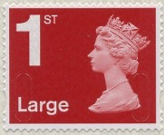 1st Large deep scarlet definitive stamp.