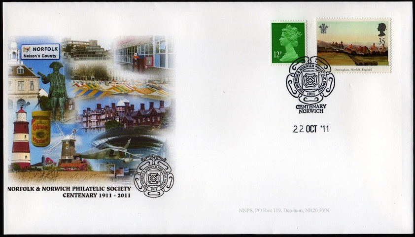 NNPS Centenary Commemorative Cover - Prince of Wales Dersingham Stamp.