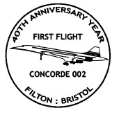 Postmark showing Concorde supersonic airliner.