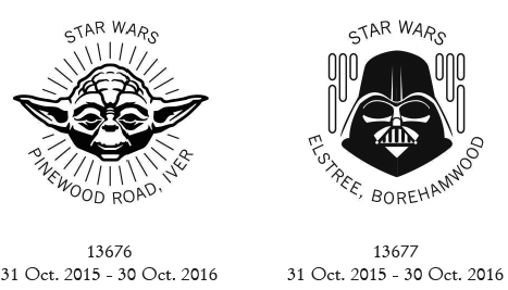 Postmarks showing Star Wars characters.